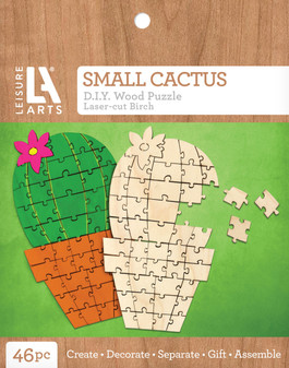 Leisure Arts Wood Puzzle Small Cactus