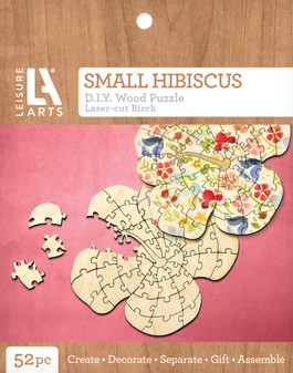 Leisure Arts Wood Puzzle Small Hibiscus