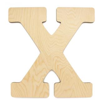 """Essentials By Leisure Arts Wood Letter 13"""" Birch X"""