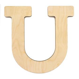 """Essentials By Leisure Arts Wood Letter 9.5"""" Birch U"""