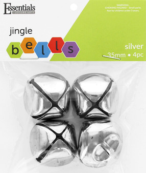 Essentials By Leisure Arts Bell Jingle 35mm Silver 4pc