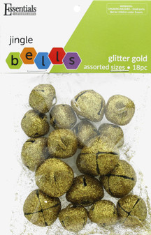 Essentials By Leisure Arts Bell Jingle Glitter Assorted Sizes Gold 18pc