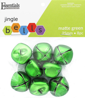 Essentials By Leisure Arts Bell Jingle 25mm Matte Green 8pc