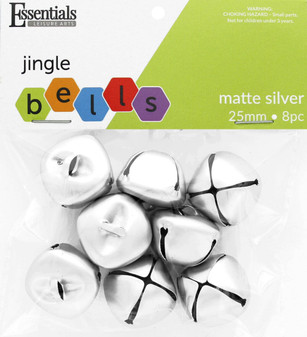 Essentials By Leisure Arts Bell Jingle 25mm Matte Silver 8pc