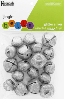 Essentials By Leisure Arts Bell Jingle Glitter Assorted Sizes Silver 18pc