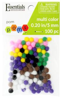 Essentials By Leisure Arts Pom Pom 5mm Multi 100pc