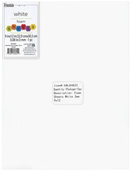 "Essentials By Leisure Arts Foam Sheet 9""x 12"" 2mm White 15pc"