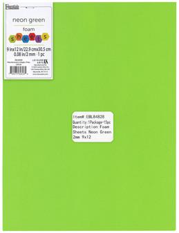 "Essentials By Leisure Arts Foam Sheet 9""x 12"" 2mm Neon Green 15pc"