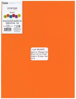 """Essentials By Leisure Arts Foam Sheet 9""""x 12"""" 2mm Orange 15pc"""