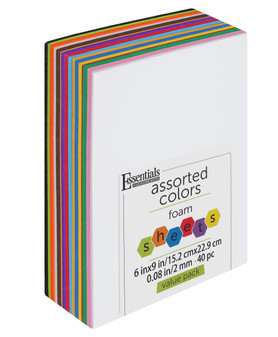 """Essentials By Leisure Arts Foam Sheet 6""""x 9"""" Value Pack 2mm Assorted 40pc"""