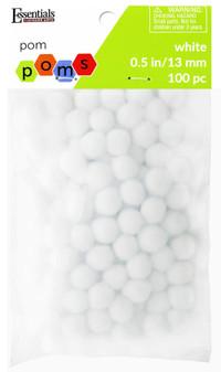 Essentials By Leisure Arts Pom Pom .5'' White 100pc