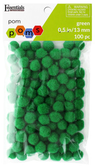 "Essentials By Leisure Arts Pom Pom .5"" Green 100pc"