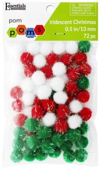 Essentials By Leisure Arts Pom Pom .5'' Iridescent Christmas 72pc