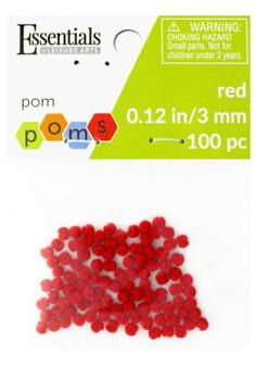 Essentials By Leisure Arts Pom Pom 3mm Red 100pc