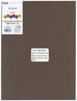 "Essentials By Leisure Arts Foam Sheet 9""x 12"" 2mm Brown 15pc"