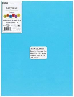 "Essentials By Leisure Arts Foam Sheet 9""x 12"" 2mm Baby Blue 15pc"