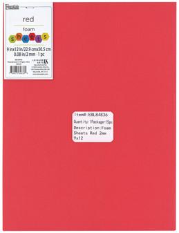 "Essentials By Leisure Arts Foam Sheet 9""x 12"" 2mm Red 15pc"