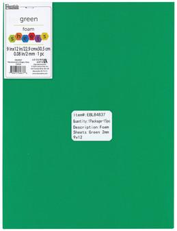 "Essentials By Leisure Arts Foam Sheet 9""x 12"" 2mm Green 15pc"