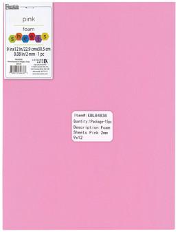 "Essentials By Leisure Arts Foam Sheet 9""x 12"" 2mm Pink 15pc"