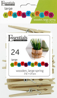 """Essentials By Leisure Arts Wood Clothespins Large Spring 3.38"""" 24pc"""