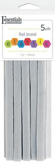 """Essentials By Leisure Arts Elastic Flat Braid .31""""x 5yd White"""