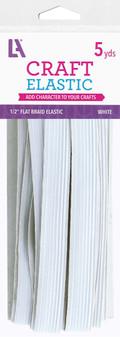 """EBL Elastic Flat Braid 1/2"""" 5yd White"""