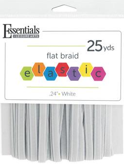 """Essentials By Leisure Arts Elastic Flat Braid .24""""x 25yd White"""
