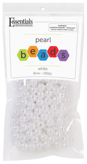 Essentials By Leisure Arts Bead Pearls Plastic 8mm White 200pc