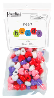 Essentials By Leisure Arts Bead Heart Bead 12mm Mix 150pc