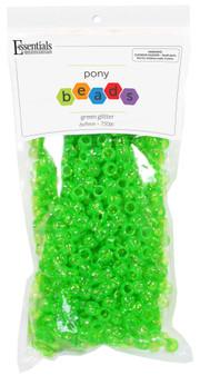 Essentials By Leisure Arts Bead Pony 6mm x 9mm Glitter Green 750pc