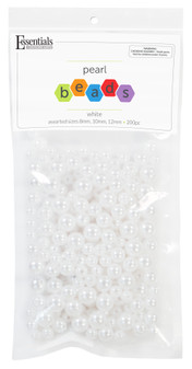 Essentials By Leisure Arts Bead Pearls Plastic Assorted Size 8/10/12mm White 200pc