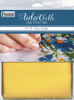 "Essentials By Leisure Arts Aida Cloth Cloth 14ct 30x36"" Yellow"