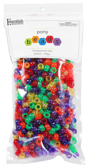 Essentials By Leisure Arts Bead Pony 6mm x 9mm Transparent Mix 750pc