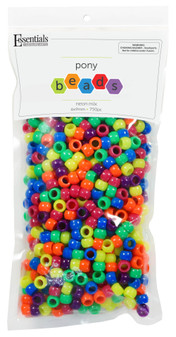 Essentials By Leisure Arts Bead Pony 6mm x 9mm Neon Mix 750pc