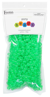 Essentials By Leisure Arts Bead Pony 6mm x 9mm Transparent Green 750pc