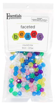 Essentials By Leisure Arts Bead Faceted 8mm Round Mix 225pc