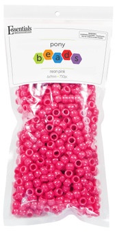 Essentials By Leisure Arts Bead Pony 6mm x 9mm Neon Pink 750pc