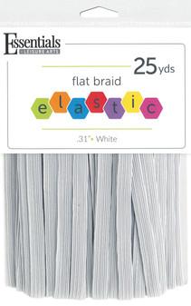 """Essentials By Leisure Arts Elastic Flat Braid .31""""x 25yd White"""