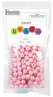 Essentials By Leisure Arts Bead Pearls Plastic 8mm Pink 200pc