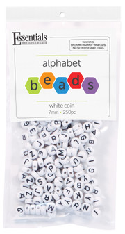 Essentials By Leisure Arts Bead Alphabet 7mm Coin White 250pc