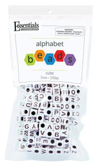 Essentials By Leisure Arts Bead Alphabet 7mm Cube White 250pc