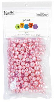 Essentials By Leisure Arts Bead Pearls Plastic Assorted Size 8/10/12mm Pink 200pc