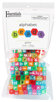 Essentials By Leisure Arts Bead Alphabet 7mm Cube Glitter 250pc