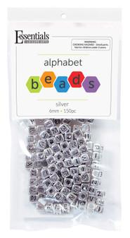 Essentials By Leisure Arts Bead Alphabet 6mm Cube Silver/Black 150pc
