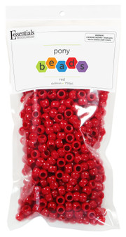 Essentials By Leisure Arts Bead Pony 6mm x 9mm Opaque Red 750pc