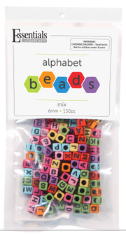 Essentials By Leisure Arts Bead Alphabet 6mm Cube Color Mix 150pc