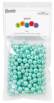 Essentials By Leisure Arts Bead Pearls Plastic Assorted Size 8/10/12mm Blue 200pc