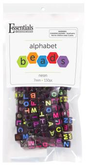 Essentials By Leisure Arts Bead Alphabet 7mm Cube Black/Neon 150pc