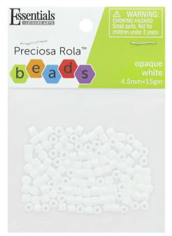 Essentials By Leisure Arts Bead Preciosa Rola 4.5mm Opaque White 15gm