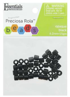 Essentials By Leisure Arts Bead Preciosa Rola 6.2mm Opaque Black 15gm